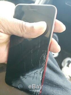 Red Iphone 8 plus 256gb unlocked cracked with replacement screen